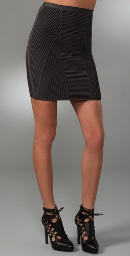 Herve Leger Engineered Ottoman Knit Skirt