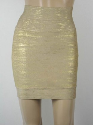 Herve Leger Exclusive Gold Foil Bandage Skirt