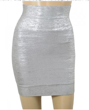 Herve Leger Exclusive Silver Foil Bandage Skirt