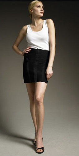 Herve Leger Front-Zip Mini Skirt