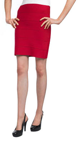 Herve Leger Skirts Dark Red Short