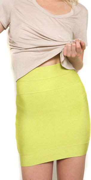 Herve Leger Skirts Yellow Citrus Short