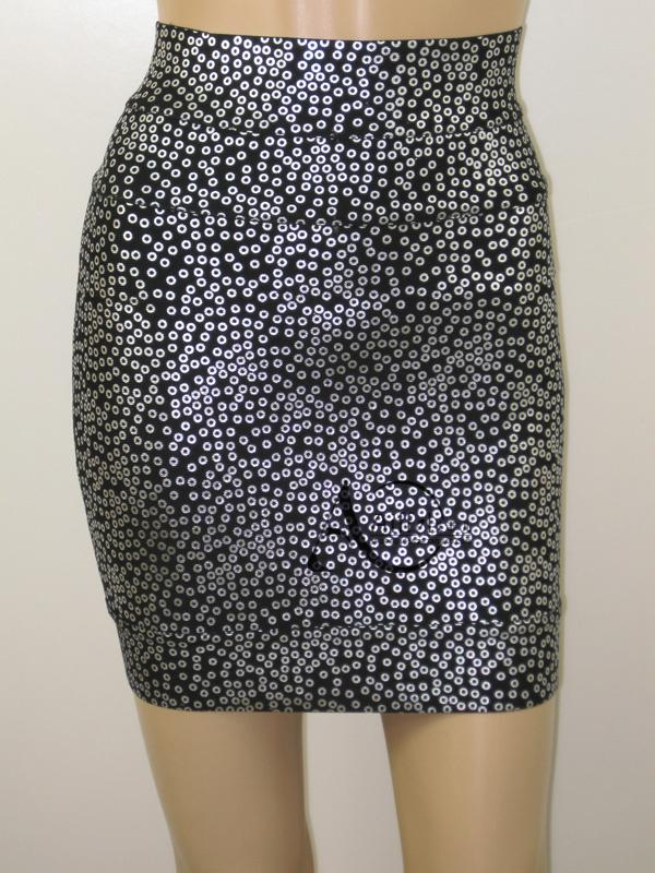 Herve Leger White Circles Bandage Skirts Black