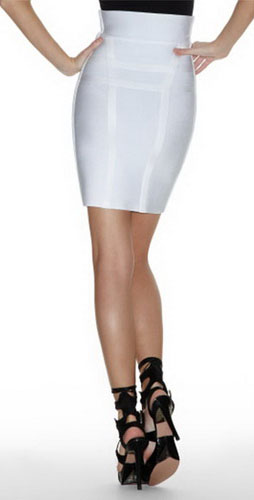 Herve Leger Zipper Skirt Off White