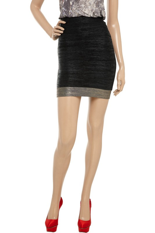 Herve Leger Black And Silver Foil Print Skirt