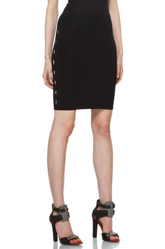 Herve Leger Black Cutout Bandage Skirt