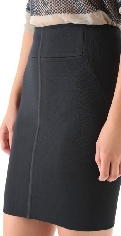 Herve Leger Black High Waist Fashion Skirt