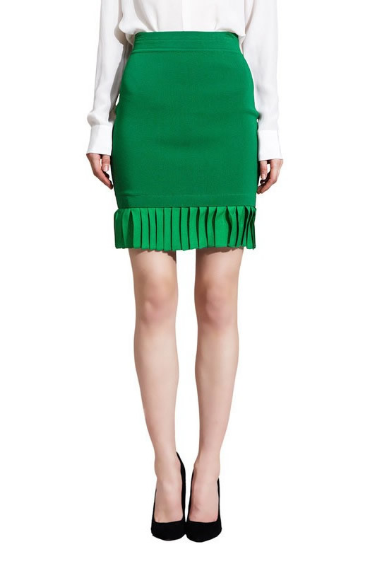 Herve Leger Green Pleated Bandage Skirt