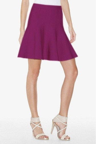 Herve Leger Purple A Line Bandage Skirt