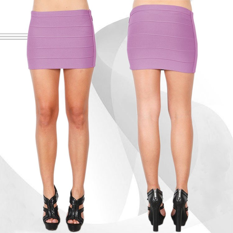 Herve Leger Purple Mini Bandage Skirt