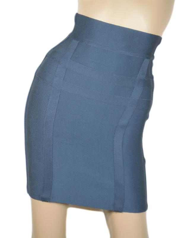 Herve Leger Mini Skirt Dark Blue