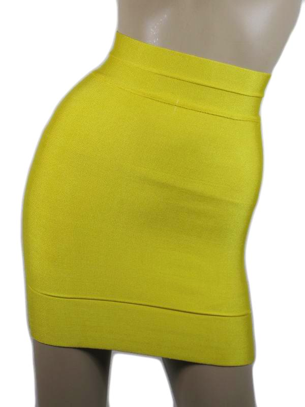 Herve Leger Mini Skirt Yellow