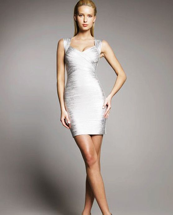 Adriana Lima Dress Herve Leger Silver V Neck Bandage Dress