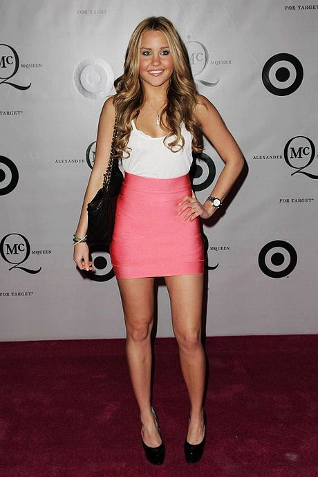 Amanda Bynes Dress Herve Leger Pink Mini Skirt