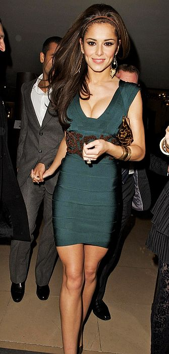 Cheryl Cole Dress Herve Leger Blue Beaded Bandage Dress