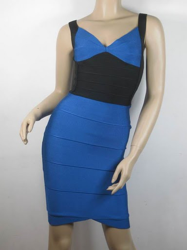 Christina Aguilera Dress Herve Leger Black And Blue V Neck Banda