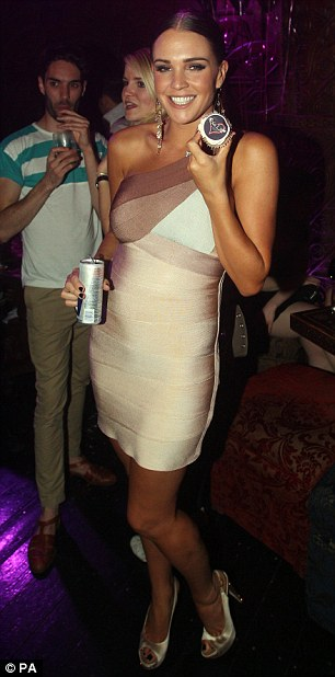 Danielle Lloyd Dress Herve Leger One Shoulder Ombre Bandage Dres