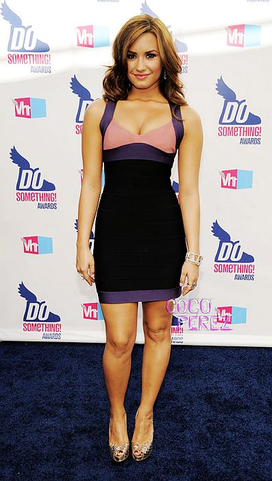 Demi Lovato Dress Up Herve Leger Colorblock Dress