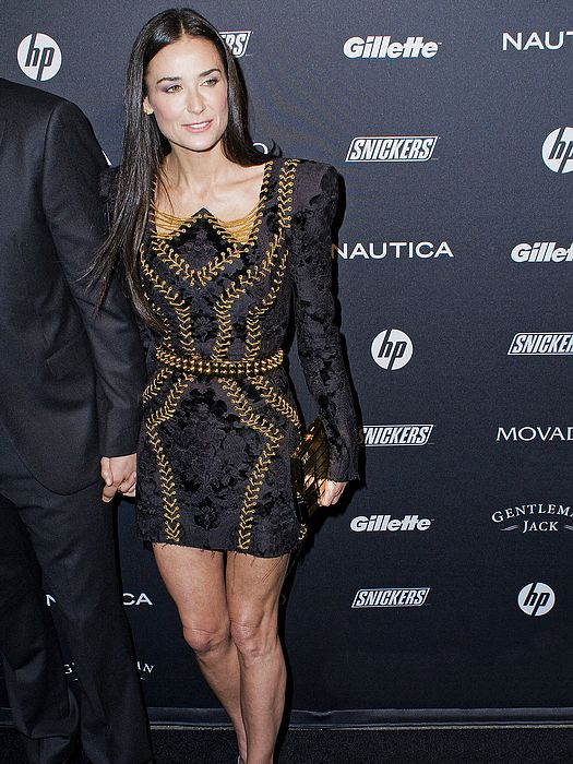 Demi Moore Dress Herve Leger Black And Gold Dress