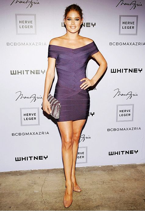 Doutzen Kroes Dress Herve Leger Purple Strapless Bandage Dress