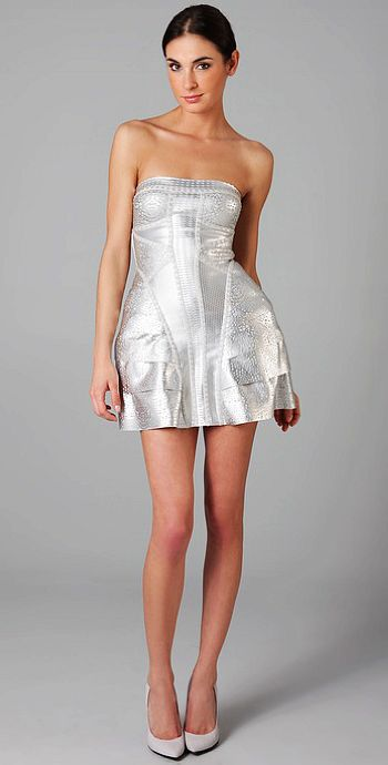 Doutzen Kroes Dress Herve Leger Silver Strapless Dress
