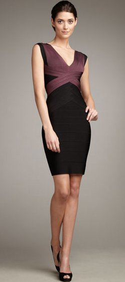 Elisabetta Canalis Dress Herve Leger V Neck Colorblocked Dress