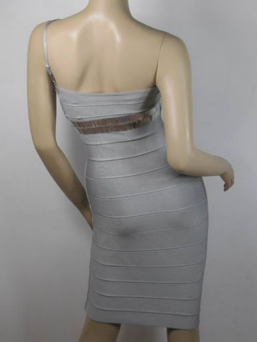 Eliza Dushku Dress Herve Leger Grey Strapless Dress