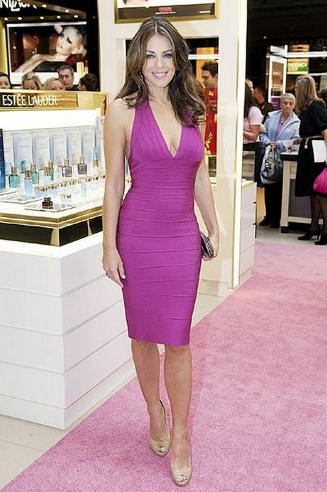 Elizabeth Hurley Dress Herve Leger Pink Halter Bandage Dress