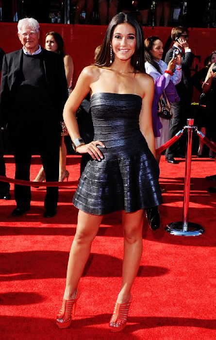 Emmanuelle Chriqui Dress Herve Leger Black Strapless A Line Dress