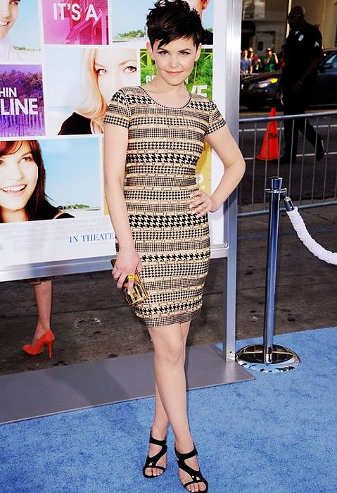 Ginnifer Goodwin Dress Herve Leger Gold Fall Printed Bandage Dress