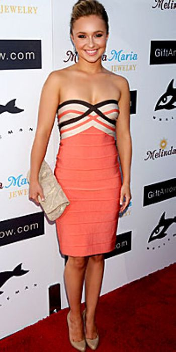 Hayden Panettiere Dress Herve Leger Strapless Colorblock Bandage Dress