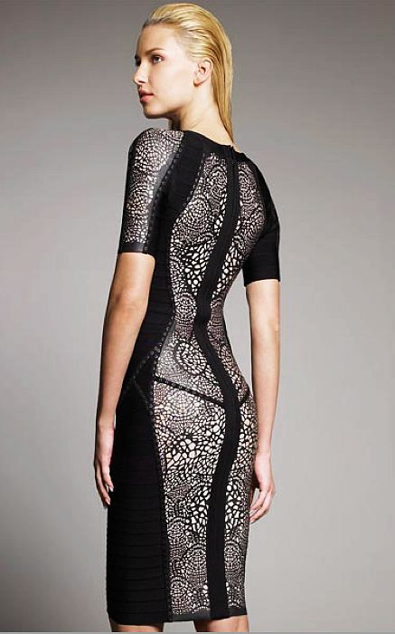Herve Leger Black Runway Lace Dress