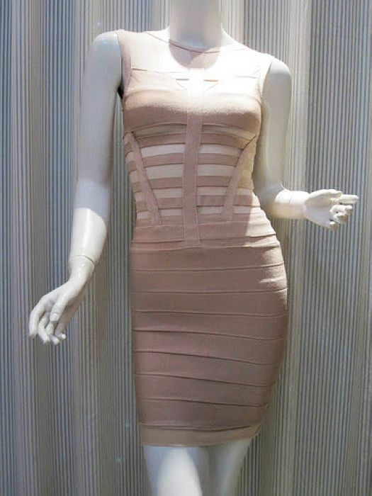 Herve Leger Grey Mesh A Line Bandage Dress