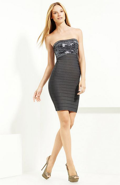 Herve Leger Grey Strapless Simone Sequined Dress