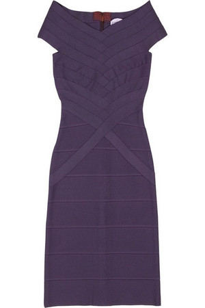 Herve Leger Purple Off The Shoulder Neckline Bandage Dress
