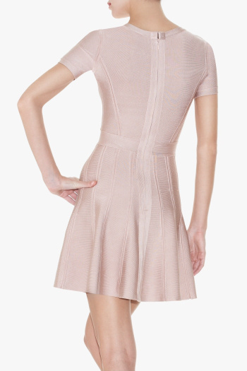 Herve Leger Trish Pink A Line Tubular Knit Dress