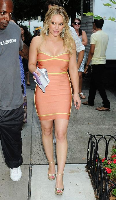 Hillary Duff Dress Herve Leger Orange Strapless Bandage Dress