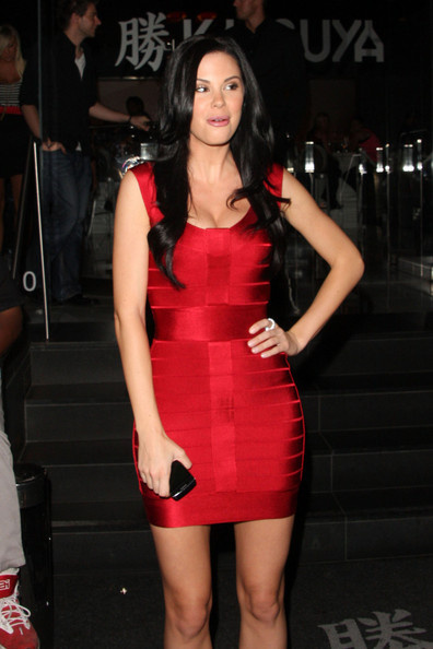 Jayde Nicole Dress Herve Leger Red Sleeveless Celebrity Bandage