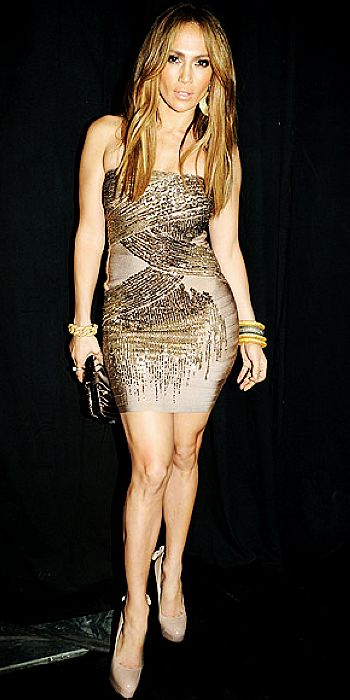 Jennifer Lopez Dress Herve Leger Silver Chest Paillettes Embellished Strapless Dress