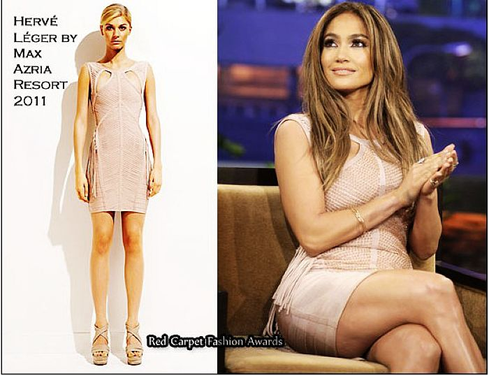 Jennifer Lopez Nude Dress Herve Leger Sexy Pink Cutout Resort Bandage Dress