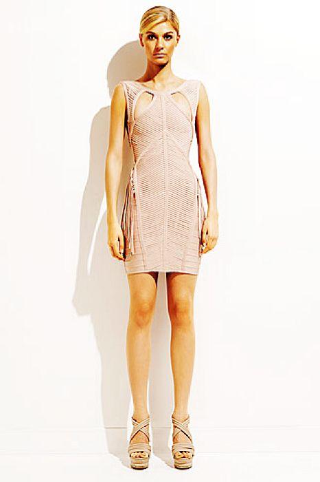Jennifer Lopez Nude Dress Herve Leger Sexy Pink Cutout