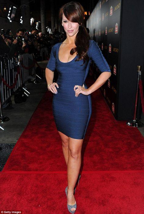 Jennifer Love Hewitt Dress Herve Leger Blue Bandage Dress