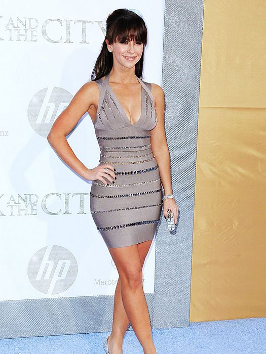 Jennifer Love Hewitt Dress Herve Leger Grey V Neck Beaded Bandage Dress