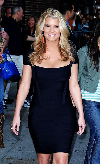 Jessica Simpson Dress Herve Leger Blue Square Neck Dress