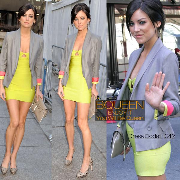 Jessica Stroup Dress Herve Leger Yellow Halter Dress