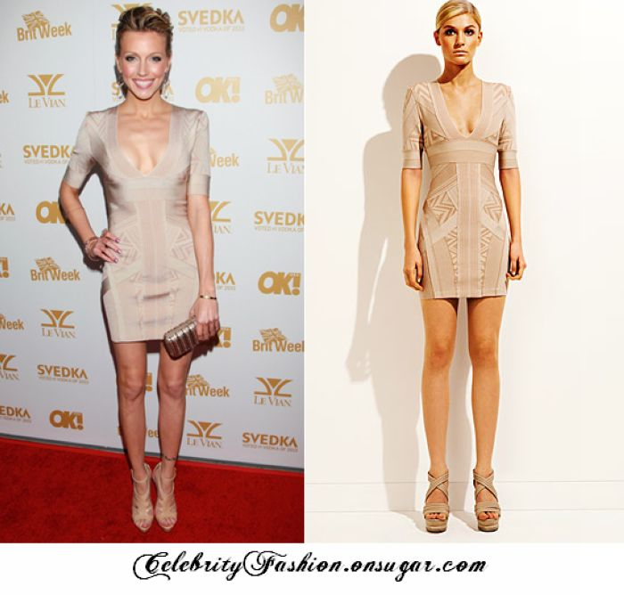 Katie Cassidy Hot Herve Leger Deep V Neck Grey Bandage Dress