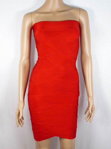 Katie Cassidy Hot Herve Leger Red Strapless Bandage Dress