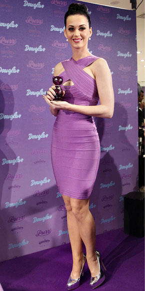 Katy Perry Dress Herve Leger Purple Bandage Dress