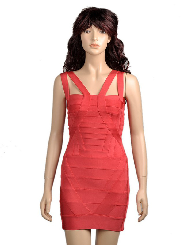 Katy Perry Red Dress Herve Leger Camisole V Neck Dress