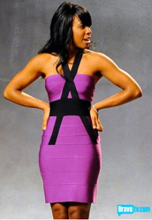 Kelly Rowland Dress Herve Leger Purple Strapless Figure Bow Dress